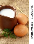 Glass Jug With Milk And  Eggs...