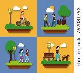 set people various activities...   Shutterstock .eps vector #762081793
