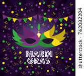 mardi gras carnival masks with... | Shutterstock .eps vector #762082204