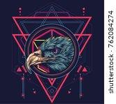 eagle head in sacred geometric...   Shutterstock .eps vector #762084274