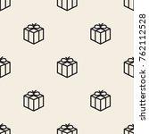 seamless monochrome gift box... | Shutterstock .eps vector #762112528