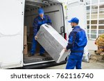 two young delivery men in...   Shutterstock . vector #762116740