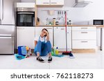 frustrated young woman sitting...   Shutterstock . vector #762118273