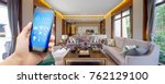 smart phone with smart home and ...   Shutterstock . vector #762129100