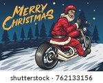 Santa Riding Chopper Thumbs Up...