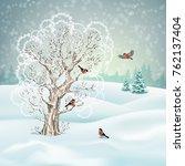 vector winter landscape. frosty ... | Shutterstock .eps vector #762137404