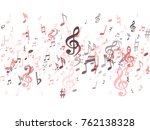 red musical notes flying... | Shutterstock .eps vector #762138328