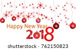 happy new year and banner with... | Shutterstock .eps vector #762150823