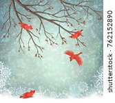 vector winter landscape. frosty ... | Shutterstock .eps vector #762152890