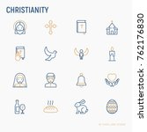 christianity thin line icons... | Shutterstock .eps vector #762176830