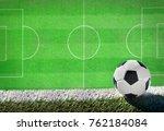 soccer ball on grass field... | Shutterstock . vector #762184084