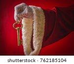 surprise of santa claus a gold... | Shutterstock . vector #762185104