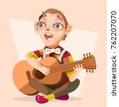 child boy musician  singer with ... | Shutterstock .eps vector #762207070