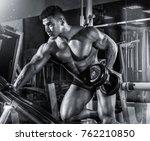 a powerful male bodybuilder... | Shutterstock . vector #762210850