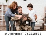 the veteran in a wheelchair... | Shutterstock . vector #762215533