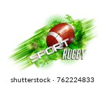 pattern design with rugby ball  ... | Shutterstock .eps vector #762224833