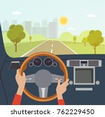 woman hands of a driver on... | Shutterstock .eps vector #762229450