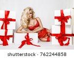 stunning blonde female model in ... | Shutterstock . vector #762244858