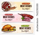 hand drawn meat horizontal... | Shutterstock . vector #762250330