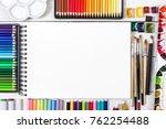 artist workspace on white... | Shutterstock . vector #762254488