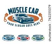 template of muscle car logo ... | Shutterstock .eps vector #762255379