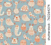 seamless pattern with cute... | Shutterstock .eps vector #762264274