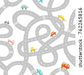 seamless pattern with roads and ... | Shutterstock .eps vector #762265816
