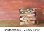 stack of messy file folders and ...   Shutterstock . vector #762277540