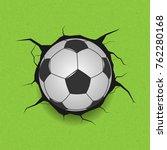 soccer ball on cracked... | Shutterstock .eps vector #762280168