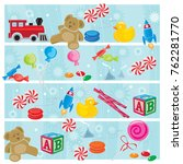 colorful christmas toys and... | Shutterstock .eps vector #762281770