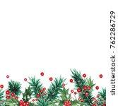 watercolor christmas seamless... | Shutterstock . vector #762286729