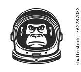 monkey astronaut. gorilla in a... | Shutterstock .eps vector #762287083
