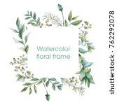 Stock photo floral wreath botanical illustrations watercolor frame 762292078