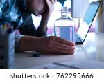 alcoholism or drinking problem...   Shutterstock . vector #762295666