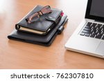 wooden office desk table with... | Shutterstock . vector #762307810