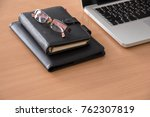 wooden office desk table with... | Shutterstock . vector #762307819