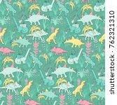 funny merry christmas dinosaurs ... | Shutterstock .eps vector #762321310