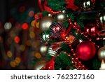 classic green new year tree... | Shutterstock . vector #762327160