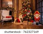 christmas decoration in grunge... | Shutterstock . vector #762327169