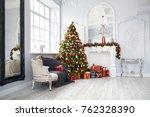 classic white christmas... | Shutterstock . vector #762328390
