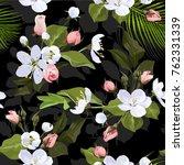 various blossom seamless...   Shutterstock .eps vector #762331339