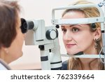 ophthalmology. female doctor... | Shutterstock . vector #762339664
