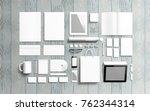 blank stationery set on wooden... | Shutterstock . vector #762344314