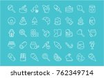 collection of line white icons... | Shutterstock .eps vector #762349714