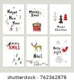 merry christmas cartoon funny... | Shutterstock . vector #762362878