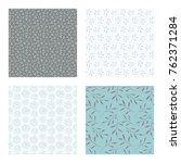 set of vector seamless floral... | Shutterstock .eps vector #762371284