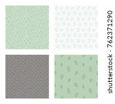 set of vector seamless floral ... | Shutterstock .eps vector #762371290
