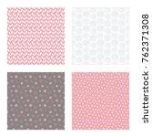 set of vector seamless floral... | Shutterstock .eps vector #762371308