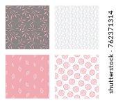 set of vector seamless floral... | Shutterstock .eps vector #762371314