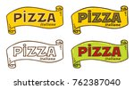 pizza logo with cartouche and... | Shutterstock .eps vector #762387040